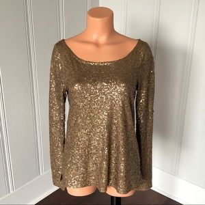 J Crew Glimmer Long Sleeve Gold Sequin Top S
